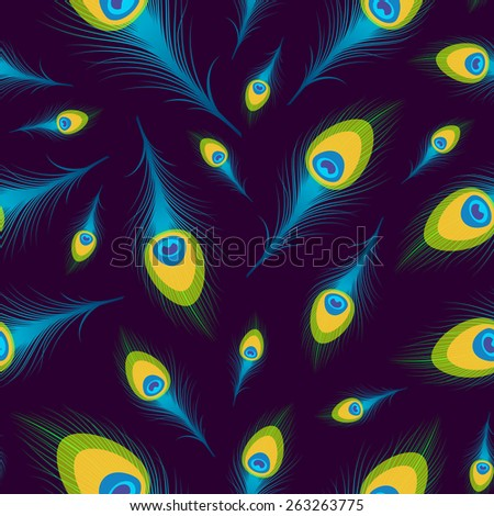 Seamless background with colorful peacock feathers. Raster version. - stock photo