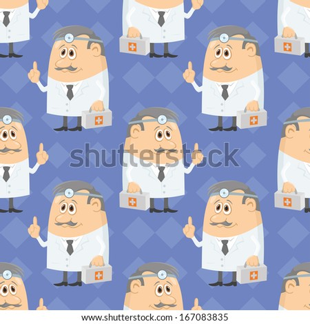 Seamless background with doctors with first-aid kits and head mirrors, cartoon characters on blue abstract pattern. - stock photo