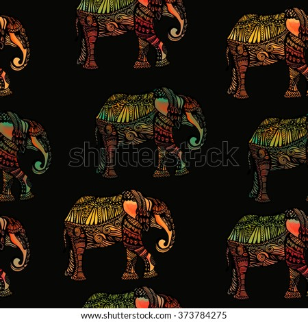 seamless background with elephant in watercolor style - stock photo