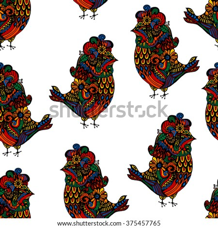 seamless background with ethnic parrot