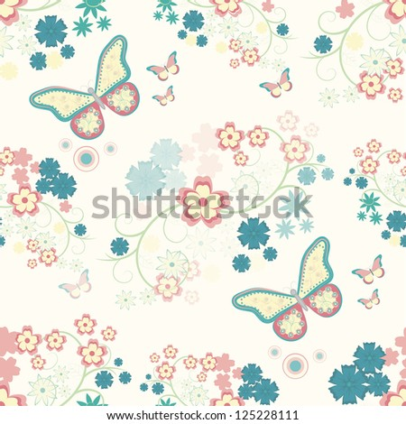 Seamless background with flowers and butterflies