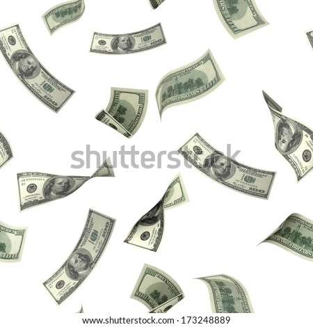 Seamless background with flying dollar banknotes. Isolated over white