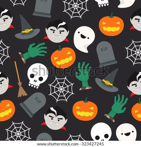 Seamless background with halloween pattern - stock photo