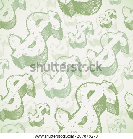 Seamless background with hand drawn dollar signs