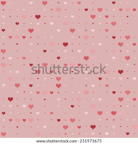 Seamless background with heart pattern in shades of pink and red