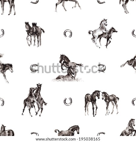 Seamless background with 8 images of playing foals and horseshoes oriental ink painting