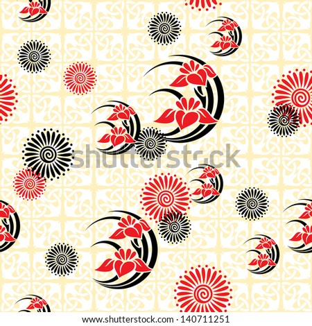 seamless background with japanese floral images - stock photo