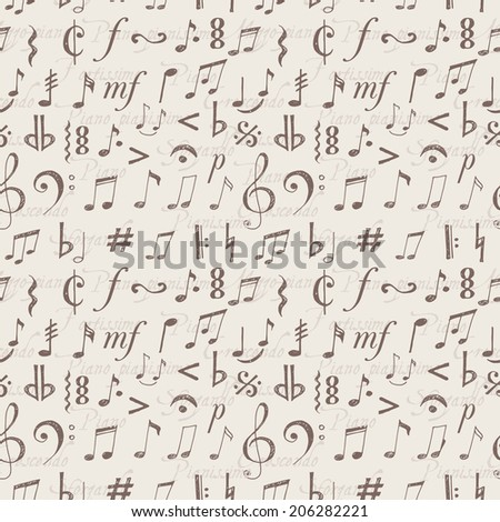 Seamless background with music notes and signs hand-drawn in sketchy style.  - stock photo