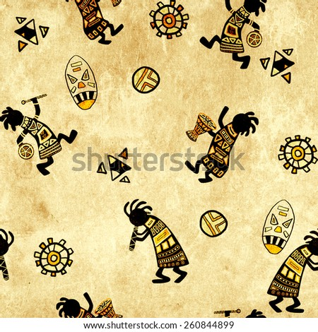 Seamless background with paper texture and african national patterns - stock photo