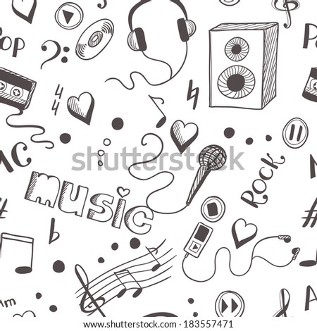 Seamless background with sketch music elements - stock photo
