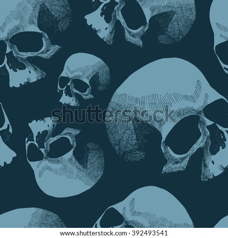 Seamless background with skulls. Hand drawn. Jpeg version. - stock photo