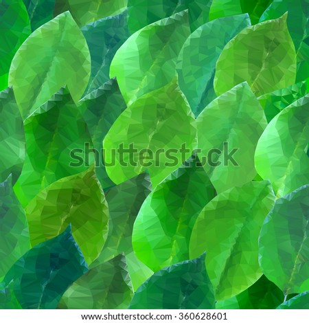 seamless background with stylized triangular green leaves - stock photo