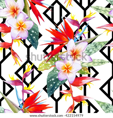 Seamless background with watercolor tropical flowers. Beautiful tropical plants on black and white background with geometric pattern. Composition with plumeria, strelitzia, palm and begonia leaves. - stock photo