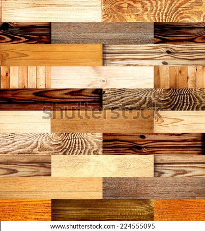 Seamless background with wooden patterns of different colors - stock photo