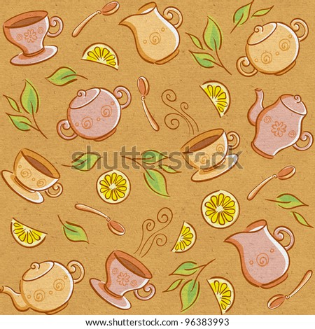 Seamless backgrounds with tea things. Raster version - stock photo