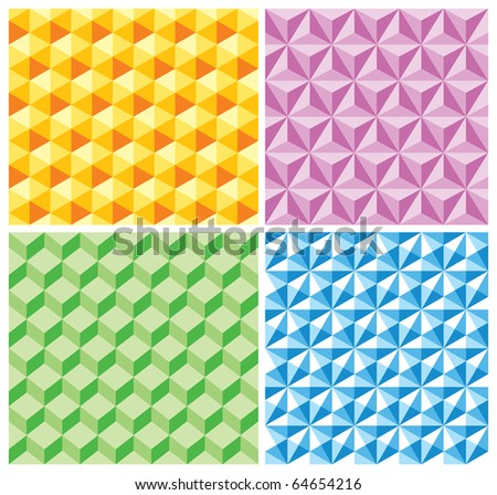 Seamless backgrounds with various pseudo-3d figures. Seamless pattern. Raster version. For vector version of this image, see my portfolio. - stock photo