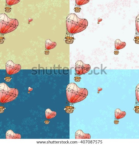 Seamless based on a watercolor illustration. Balloon in the form of heart flying in the sky.