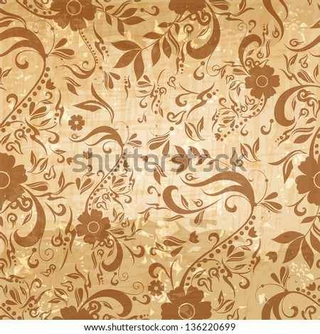 Seamless beautiful abstract retro grunge vintage floral background illustration