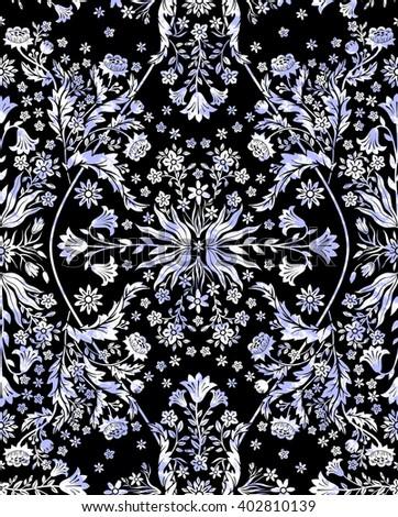 seamless beautiful gentle symmetrical romantic grunge floral fractal foliage pattern with little flowers cornflower