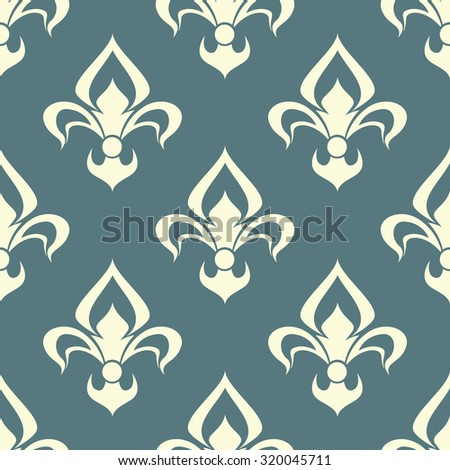 Seamless beige color floral arabesque pattern with damask style motifs suitable for wallpaper, tiles and fabric design isolated over light gray background - stock photo