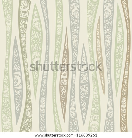 Seamless beige vertical pattern with decorated waves. - stock photo