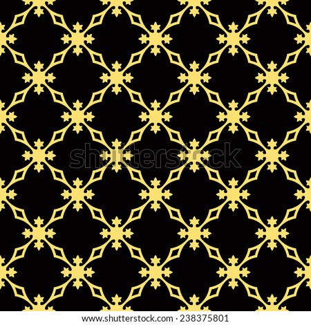 Seamless black and gold vintage revival geometric pattern - stock photo