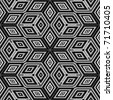 Seamless black and white 3D cubes illustration - Escher style - stock photo