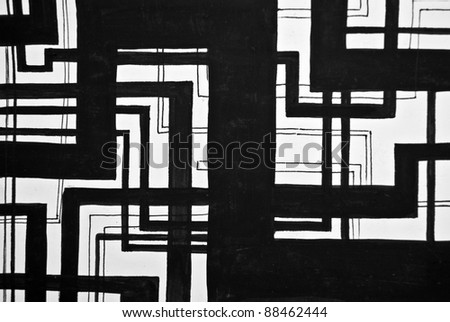 Seamless black and white painted design - stock photo
