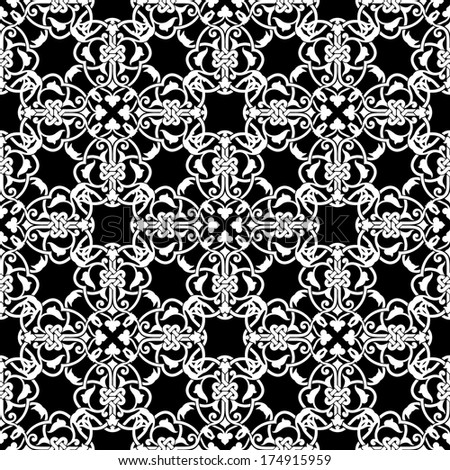 Seamless black and white pattern in arabic or muslim style  illustration