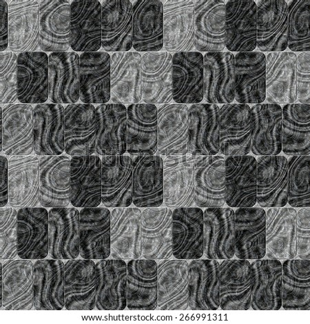 Seamless black and white pattern of rounded rectangles with wavy pattern - stock photo