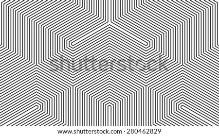 Seamless black and white vintage trilateral op art lines pattern - stock photo
