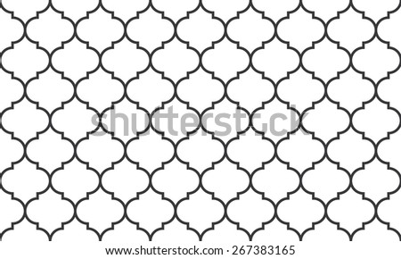 Seamless black and white wide moroccan pattern - stock photo