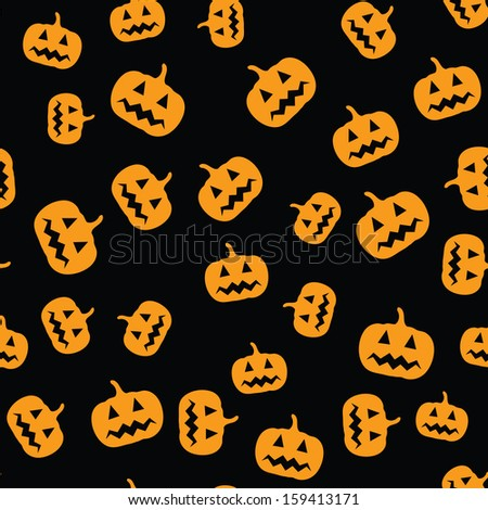 Seamless black background with simple Halloween pumpkin