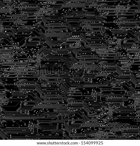 Seamless black circuit board pattern. - stock photo