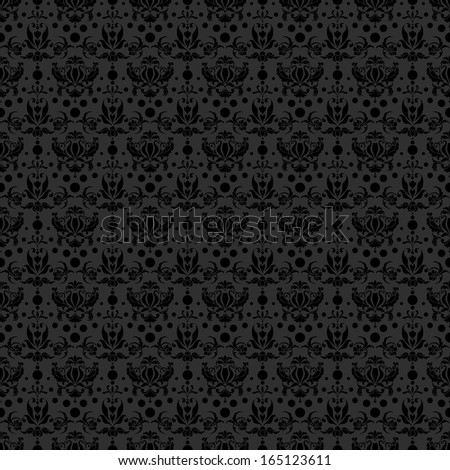 Seamless Black Damask