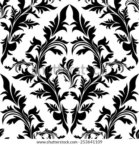 Seamless black floral Ornament on white. Raster version. - stock photo