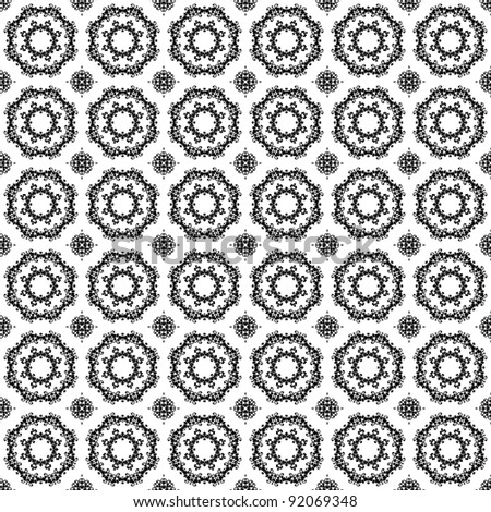 Seamless Black Kaleidoscope Lace on White Background - stock photo