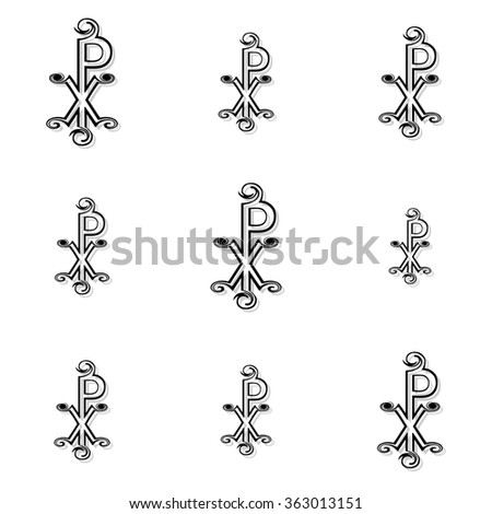 Seamless black labarum background or pattern on white background - stock photo
