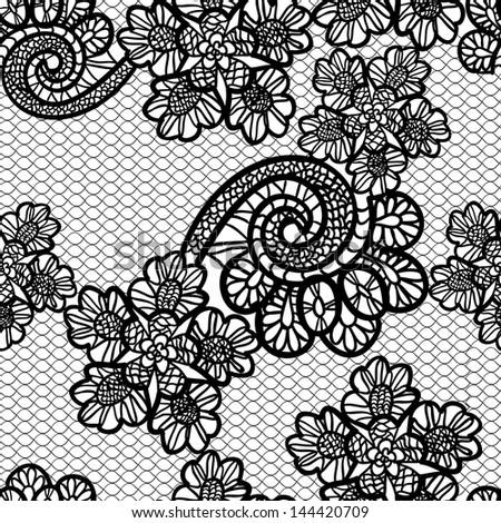 seamless black lace background - stock photo