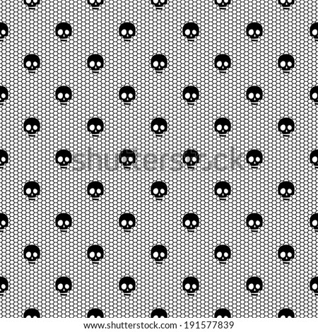Seamless black lace pattern with skulls on white background. Raster version. - stock photo