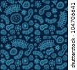 Seamless blue bacterium pattern - stock photo