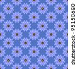 Seamless Blue Floral Background Wallpaper - stock photo