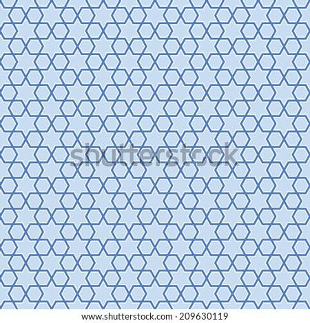 Seamless blue stars background pattern - stock photo