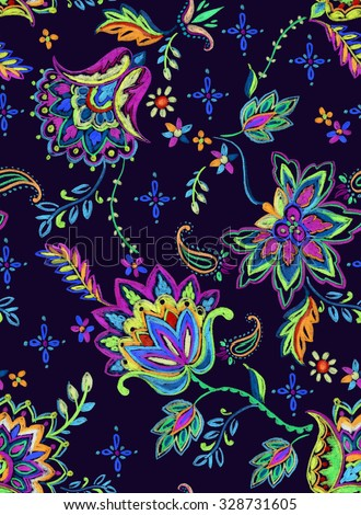seamless bohemian pattern. Ethnic flowers, folk elements, vibrant textured pencil illustration on dark background. Artistic design for fashion or interior, trendy, colorful.  - stock photo