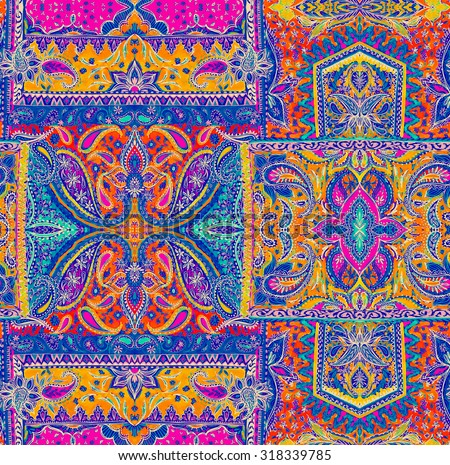 seamless bohemian pattern. paisleys and detailed ornaments, very complex placement print for fashion, interior, swimwear. Boho festival style, cachemire scarf, amazing handdrawn illustrations - stock photo