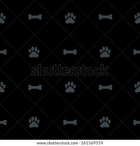Seamless Bone & Paw Pattern - stock photo