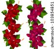 Seamless border made of hibiscus flowers  on white. Raster version - stock photo