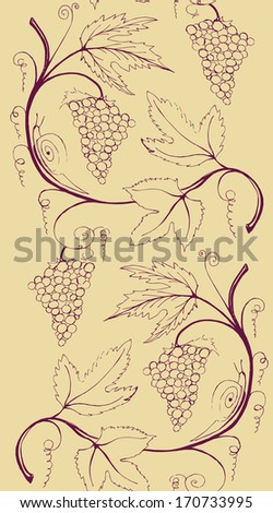 Seamless border of bunch of grapes. Perfect for wine label and menu