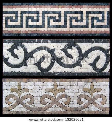 Seamless border of marble mosaic. Similar images in my portfolio. - stock photo