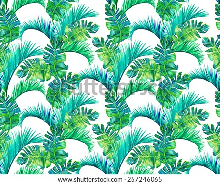 seamless botanic foliage pattern. large and colorful palm leave, vertical half drop composition. for interior, wallcoverings, fashion. - stock photo